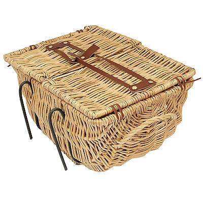 Classic Wicker Picnic/Shopping Bicycle Basket with Lid & Carry Handle Bike/Cycle