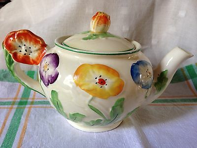 Grindley Hand Painted Art Deco Anemone Pattern Small Teapot With Flower Handle