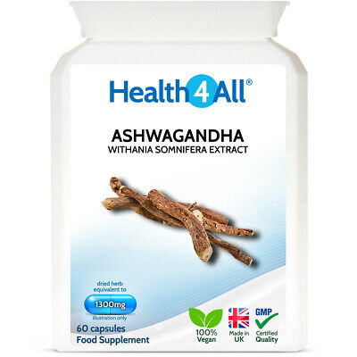 Health4All Ashwagandha STRONG Extract 1300mg 60 Capsules -Stress Anxiety Fatigue