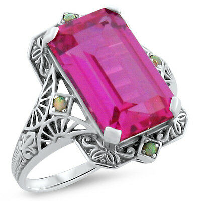8 CT PINK LAB SAPPHIRE ANTIQUE DECO STYLE .925 STERLING SILVER RING #350