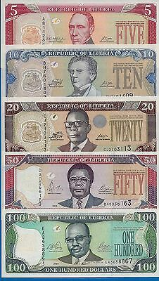 Liberia Set #5 P-26,P-27,P-28,P-29,P-30. Years 2003-2011 Uncirculated Banknotes