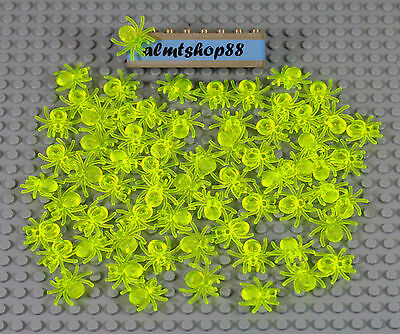LEGO - Trans Neon Green Spiders - Animal Insects Bug Halloween Yellow Lot