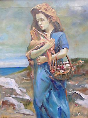 WOMAN BY THE SEA-Vintage Oil Painting
