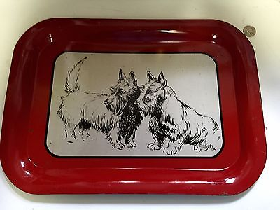 "1940s Scotty Dog Metal Tray Fire Engine Red With ""2"" Scotties NICE!"