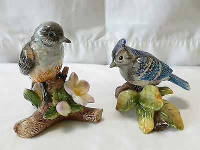 Pair of Porcelain Painted Birds, Robin and Blue Jay