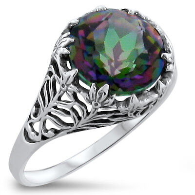 4 Ct. Hydro Mystic Quartz Antique Style .925 Sterling Silver Filigree Ring, #331