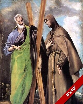Saint Andrew The Apostle & St Francis Of Assisi Painting Art Real Canvas Print