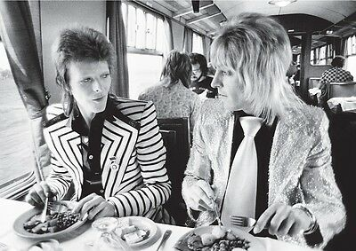 David Bowie Mick Ronson Candid Train BW Poster