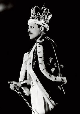 Freddie Mercury Queen Crown BW Poster