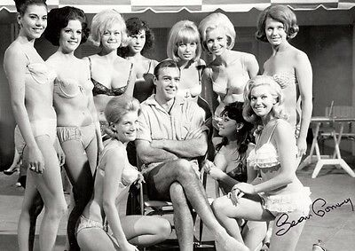 Sean Connery 007 James Bond and Girls with Copy Autos Poster