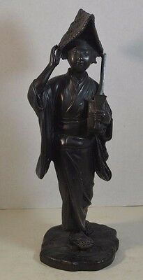 Antique Japanese Bronze Sculpture of Woman with Shamisen