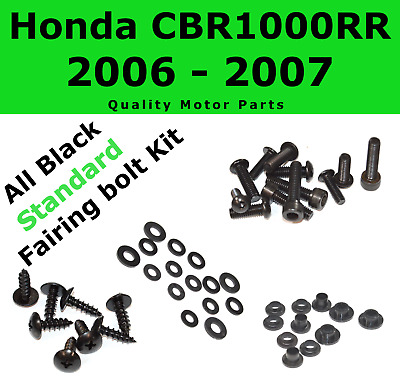 Black Fairing Bolt Kit body screws fasteners for Honda CBR 1000RR 2006 2007
