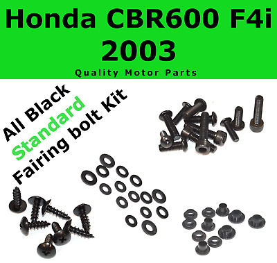 Black Fairing Bolt Kit body screws fasteners for Honda CBR 600 F4i 2003