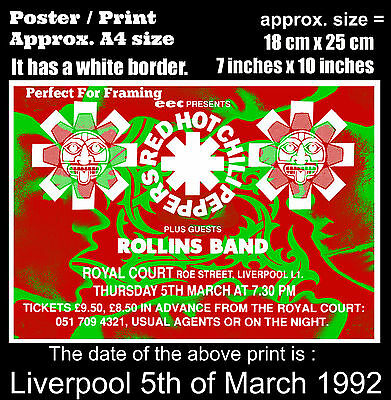 Red Hot Chili Peppers live concert Liverpool 5th March 1992 A4 size poster print