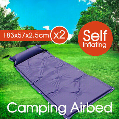 2x Self Inflating Sleeping Single Mattress Camping Hiking Airbed Mat With Pillow
