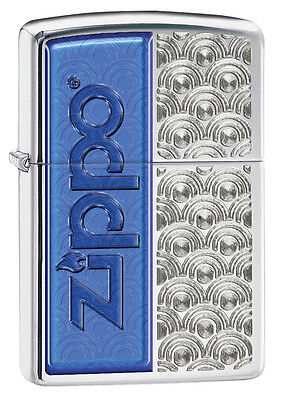 Zippo High Polished Chrome Lighter With Blue Logo & Design, 28658, New In Box