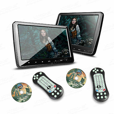 """2X HDMI 10"""" LCD Car Headrest Active Monitor DVD/USB Player IR Game Kids Headsets"""