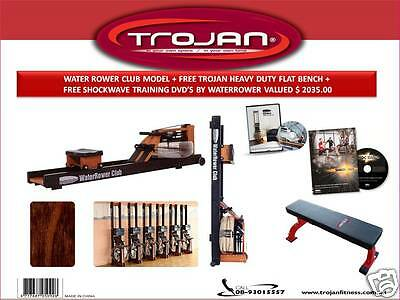 Water Rower Water Club Model S4 Monitor FREE FLAT Bench + Training DVD'S