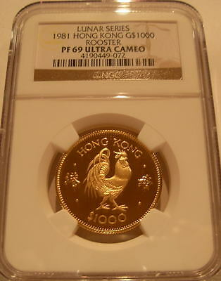 Hong Kong 1981 Gold $1,000 NGC PF-69UC Year of The Rooster