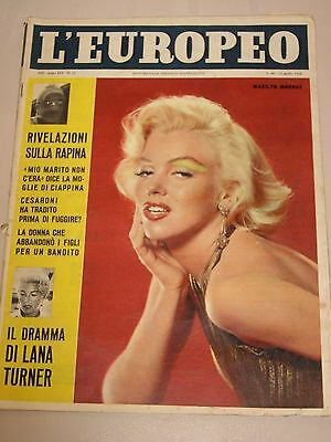 italian magazine with MARILYN MONROE  on cover 1958 ! L'EUROPEO