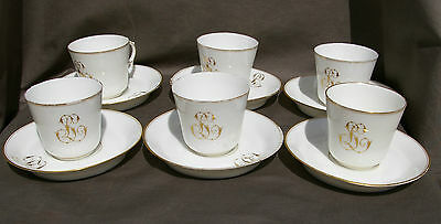 Porcelaine De Paris Serie De 6 Tasses Et Sous Tasses Peint Main Berger Foecy