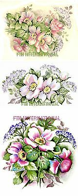 F29 ~ Pink Wild Rose Flowers on Ceramic Decals 3 designs, 4 sizes to choose from