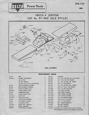 """Delta Rockwell  8"""" Jointer - Cat. No. 37-300 (Old Style) Instructions"""