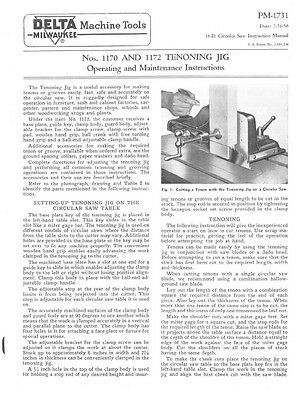 Delta Rockwell Nos. 1170 and 1172 Tenoning Jig Instructions