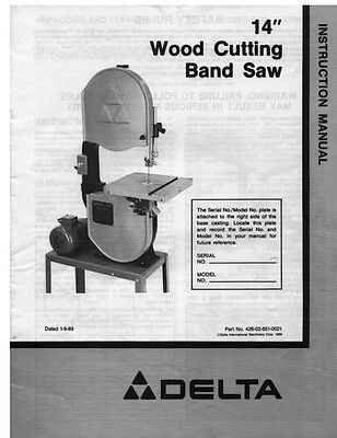 """Delta Rockwell No. 28-203 14"""" Wood Cutting Band Saw Instructions"""