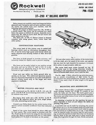 """Delta Rockwell 37-290 4"""" Deluxe Jointer Instructions"""