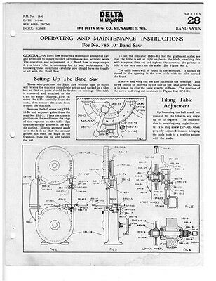 """Delta Rockwell PM-1630 No. 785 10"""" Band Saw Instructions"""