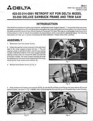 Delta Rockwell SB-2-1 Retrofit Kit for 33-050 Deluxe Sawbuck Instructions