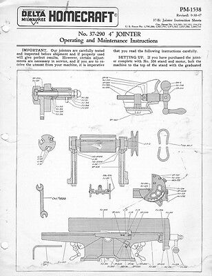 Delta Rockwell No. 37-290 4 inch Jointer Instructions