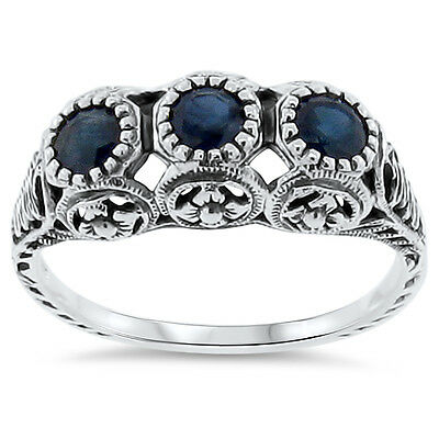 Details about  /ART DECO GENUINE SAPPHIRE 925 STERLING SILVER ANTIQUE STYLE RING SIZE 5 #1093