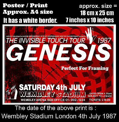 Genesis live concert Wembley Stadium London 4th July 1987 A4 size poster print
