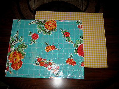 Aqua ROSES Yellow Gingham Reversible OILCLOTH Place or PET Food Mat  Placemat