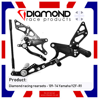 Diamond Race Products - Yamaha Yzf R1 Rearset Footrest Kit 09-14 2009-2014