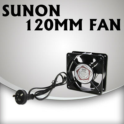 120mm Sunon Fan 240V with leads for Ventilation in Hydroponic Grow Tent Room