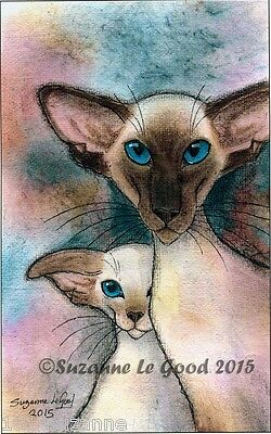 Ltd Edition Siamese Cat & Kitten Painting Print From Original By Suzanne Le Good
