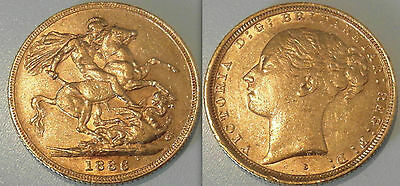 Collectable Gold full Sovereign 1886 Coin Queen Victoria. / George & Dragon