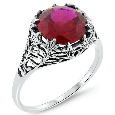 5 Ct. Red Lab Ruby Antique Filigree Design .925 Sterling Silver Ring,       #379