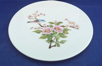 Round Ceramic Trivet Takahashi Japan CHERRY BLOSSOMS Enamel Dots Blue Bird