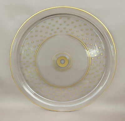 19thC Antique French Crystal Round Tray Gilt Ornament Charles