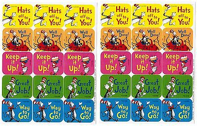 DR SEUSS Cat in the HAT Reward Stickers! 2 NEW Sheets! Good Job!  Well Done!