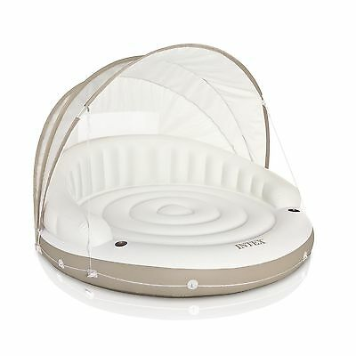 Intex 78 x 59 Inch White Inflatable Canopy Island Lounge Raft with Sun Shade