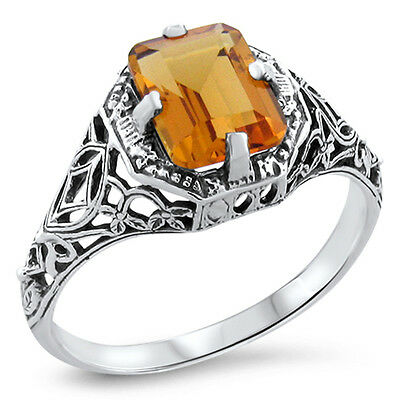 Golden Lab Citrine Antique Art Deco Style 925 Sterling Silver Filigree Ring,#412