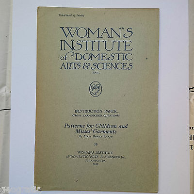 Woman's Institute of Domestic Arts & Sciences Patterns for Children & Misses