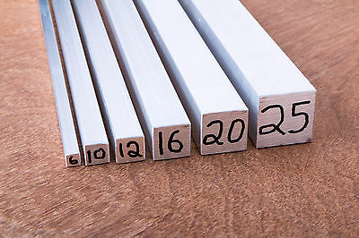 ALUMINIUM Solid Square Bar 6,10,12,16,20 or 25 x 300mm LONG 6060-T5 FREE POSTAGE