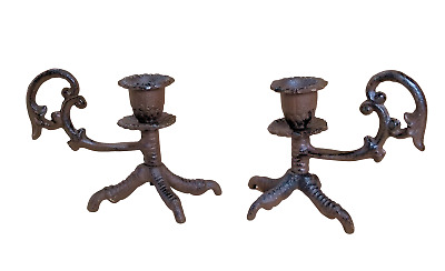 Cast Iron Clawfoot claw foot Candle Holders sticks TALON vulture chicken 2 PC