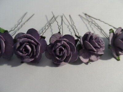 6 Rose Flower Hair Pins Bobby Lavender 25Mm Wedding Bridesmaid Party